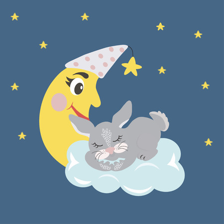 Sleeping gray cute hare on a white cloud. Background with a night starry sky.  Sweet dreams design element. Greeting card. Graphics for t-shirts. Illustration