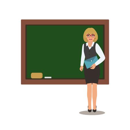 L'enseignant avec un livre est devant un tableau d'école. Illustration vectorielle de dessin animé sur fond blanc. Vecteurs