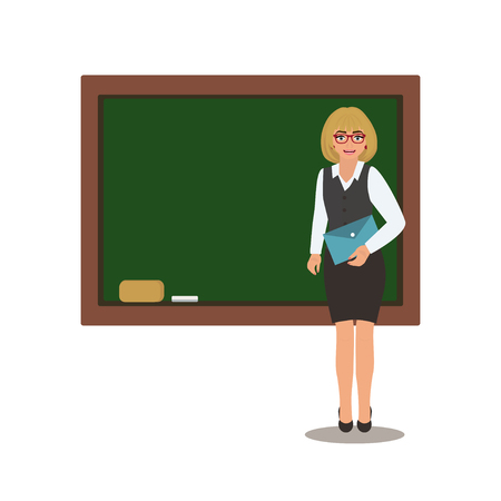Teacher with book is  in front of a school blackboard. Cartoon vector illustration on a white background.