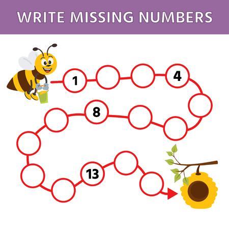 Jeu de logique d'éducation mathématique pour les enfants d'âge préscolaire. Complétez la rangée, écrivez les nombres manquants. Une abeille vole vers la ruche. Illustration vectorielle Vecteurs
