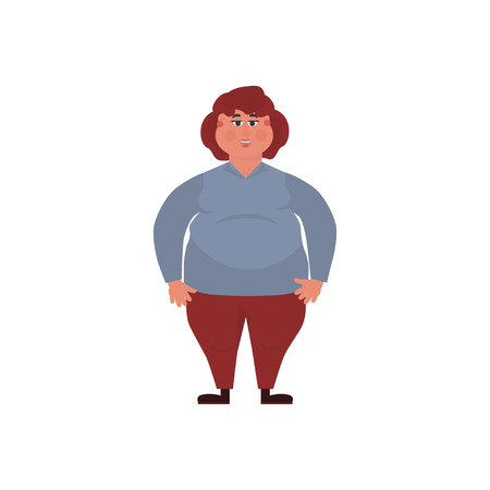 Vector illustration of a fat girl. Concept Health problems of fast food. 向量圖像