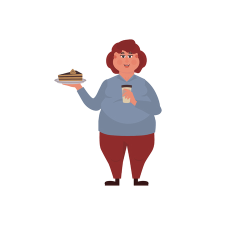 Fat woman eating a piece of cake and is drinking coffee. Funny Cartoon Character. Vector illustration of bad habits and people eating  junk food.
