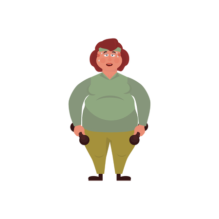 Vector illustration overweight fat woman with dumbbells. Concept Health problems of fast food. Cartoon Style.