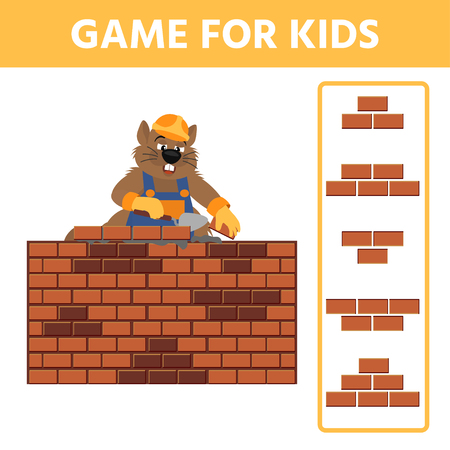 Educational children painting game. Find an element of a brick wall. Beaver builder.