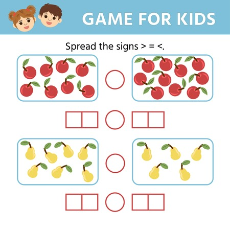 Education logic game for preschool kids. Choose the correct answer. More, less or equal. Vector illustration Illustration