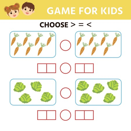Education logic game for preschool kids. Choose the correct answer. More, less or equal. Vector illustration 向量圖像