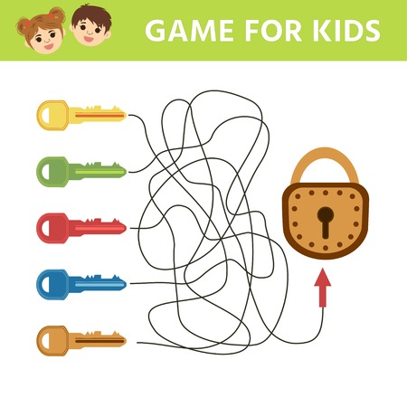 Choose the key to the lock. Matching children educational game. Activity for pre school years kids and toddlers