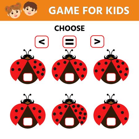 Education logic game for preschool kids. Choose the correct answer. More, less or equal. Ladybug. Vector illustration Vektorgrafik