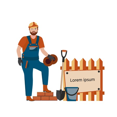 Builder in hard hat and a uniform on construction site with and shovel. Vector illustration cartoon character.