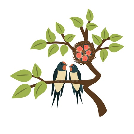Two cute swallows sitting on a tree branch. Chicks in the nest. Vector illustration isolated on a white background. Çizim