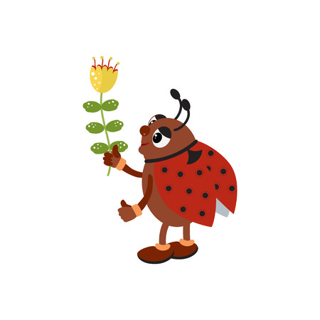 Cute ladybug holding a flower. Vector illustration in cartoon style for presents, invitation,holiday interior design.