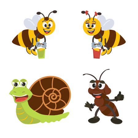 Cute insects ant,  snail, bees cartoon character set.  Vector illustration with isolated characters for decor and design.