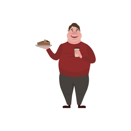 Fat man eating a piece of cake and is drinking coffee. Funny Cartoon Character. Obese character.  Vector illustration of bad habits and people eating  junk food.
