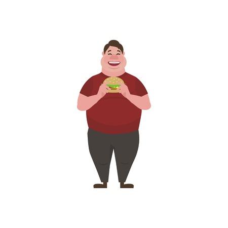 Fat man eating a big tasty hamburger. Funny Cartoon Character. Obese character. Vector illustration of bad habits and people eating  junk food.