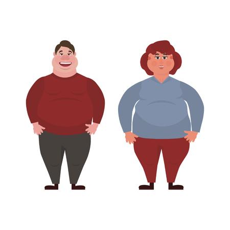 Un hombre y una mujer con obesidad. Estilo de vida poco saludable. Comida incorrecta. Concepto Problemas de salud de la comida rápida. Ilustración vectorial.