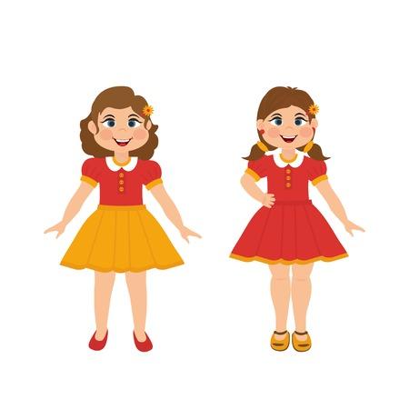 Vector cute little two girls. Vector illustration girl can use for presents, invitation, children room, nursery decor, interior design.
