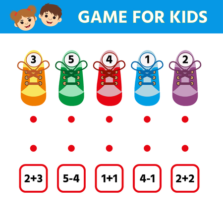 Gioco del labirinto per bambini, gioco educativo per bambini in età prescolare. Calzature. Trova una coppia. Scheda attività per bambini. Intrattenimento divertente per i bambini. Vettoriali