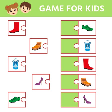 Maze game for kids, education game for preschool children. Footwear. Find a pair. Kids activity sheet. Children funny riddle entertainment.