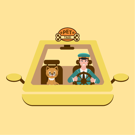 Taxi driver and cat on front seat. Vector illustration in flat style  on white background. Pet travel concept. Stock Illustratie