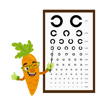 Carrot check vision with vision test chart. Vision concept. Vector illustration. Cartoon food character. Isolated image on white background. Çizim