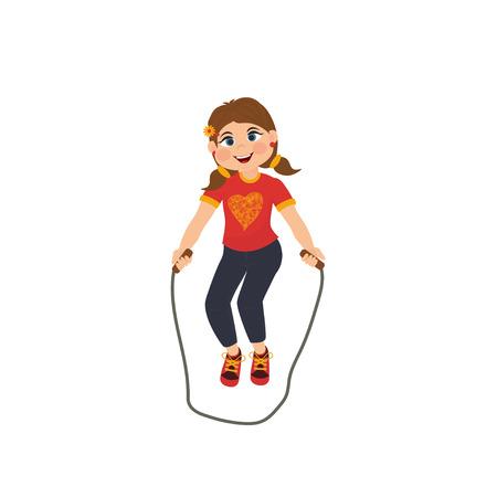 La fille mignonne de bande dessinée avec une corde à sauter. Illustration vectorielle isolée sur fond blanc.