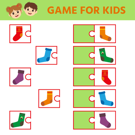 Maze game for kids, education game for preschool children. Find a pair socks. Kids activity sheet. Children funny riddle entertainment.