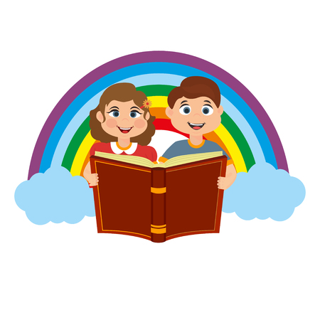 Vector illustration of cute girl and a boy holding an open book.