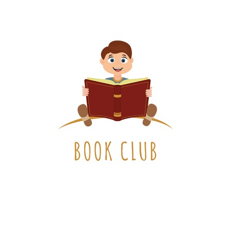 Vector illustration of cute boy  holding an open book.