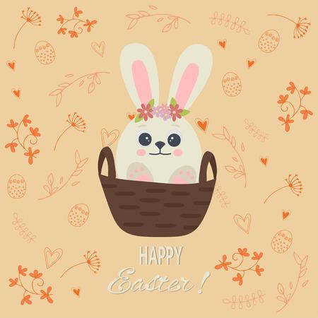Cartolina d'auguri di buona Pasqua con un simpatico coniglio bianco nel cestino. Coniglietto di Pasqua. Illustrazione vettoriale
