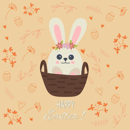 Happy easter lettering greeting card with with white cute rabbit in the basket. Easter Bunny. Vector illustration