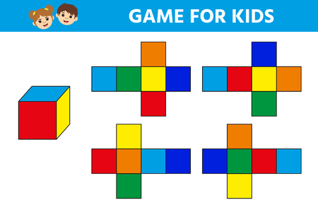 Education logic game for preschool kids. Kids activity sheet.   Find the  the right cube. Children funny riddle entertainment. Vector illustration 向量圖像