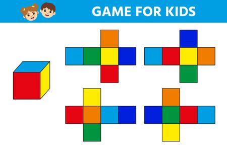 Edukacyjna gra logiczna dla dzieci w wieku przedszkolnym. Arkusz aktywności dla dzieci. Znajdź odpowiednią kostkę. Zabawna zagadka dla dzieci. Ilustracja wektorowa Ilustracje wektorowe