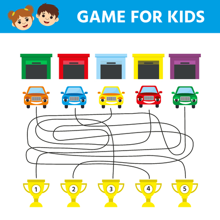 Children game for children. Labyrinth. Cartoon cars. Help the car get to the finish line. Education developing worksheet. Vector illustration