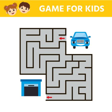 Children game for children. Labyrinth. Cartoon cars. Funny riddle. Education developing worksheet. Vector illustration