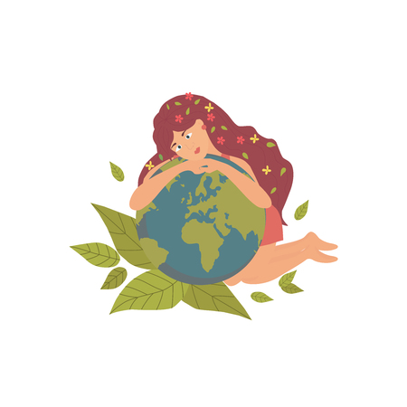 Banner with woman with  our planet, can be used as greeting card, flyer, poster for Earth Day. Green day concept. Vector illustration