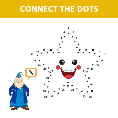 Game for kids. Dot to dot game for children. Cartoon cute star. Activity for pre shool years kids and toddlers. Vector illustration