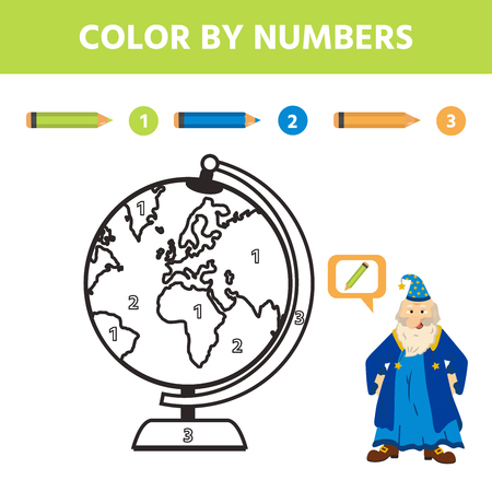 Game for kids. Color by number. Coloring page or book with earth. Activity for pre shool years kids and toddlers. Vector illustration