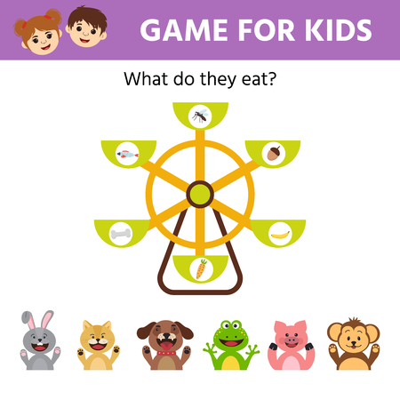 Vector Illustration. Make the right choice and connect the dots cartoon cute animal with their food. Educational children's game. Vector Illustratie