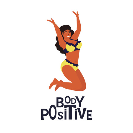 Love your body. Happy body positive concept. Different Plus Size happy woman. Vector Illustration can use for poster design, card, t-shirt print
