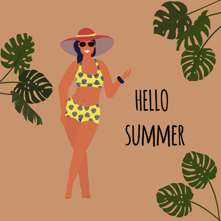 Hello summer. Body positive concept. Cute plus size girl in bikini. Vector illustration. Stock Illustratie