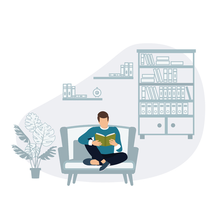 Young man sitting in the library reading a book on the background of bookshelves. The concept of modern learning and communication of young people. Vector flat illustration Vecteurs