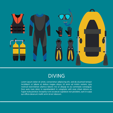 Scuba diving equipment collection. Underwater activity. Aqualung, oxygen cylinders,  flashlight, snorkel and mask, flippers, gloves,  boat. Vector Illustration.