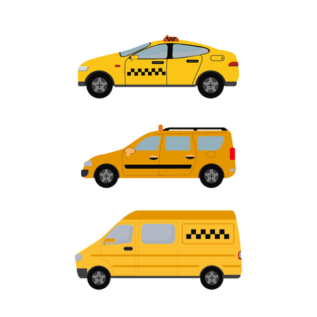 Yellow Taxi Cars Set. Taxi service concept. Vector illustration flat.