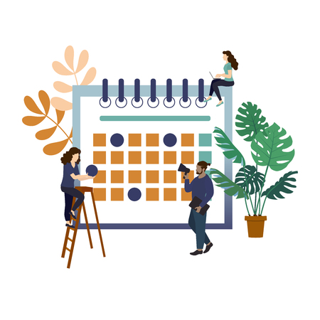 Content plan with small people characters. Organising the working process. Deadlines. Concept of content strategy for social media marketing advertising, media planning, infographics  in flat style Illustration