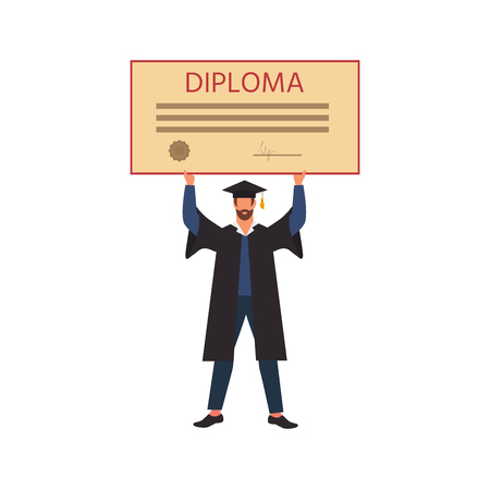 Happy student graduation holding a  diploma. Vector illustration can use for presentations, education, colleges and institutes,  infographics. Ilustração