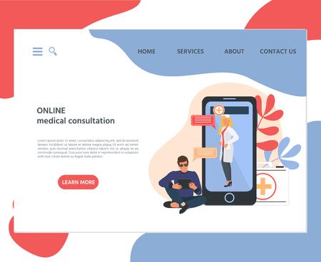 Web page template of online medical consultation concept. Modern flat design concept of web page design for website and mobile website.  Vector illustration