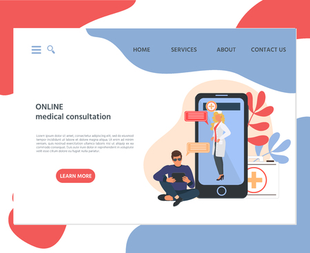 Web page template of online medical consultation concept. Modern flat design concept of web page design for website and mobile website.  Vector illustration