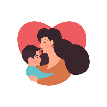 Mother and  son hugging. Mothers day card about mothers love and care. Vector illustration for your dizaine, banner, card. Illustration