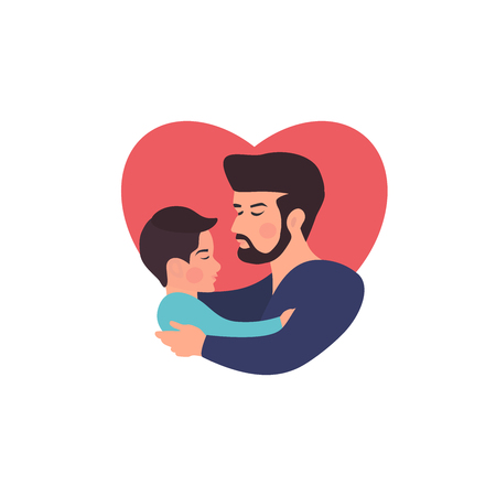 Father and  son hugging. Fathers day card about mothers love and care. Vector illustration for your dizaine, banner, card.