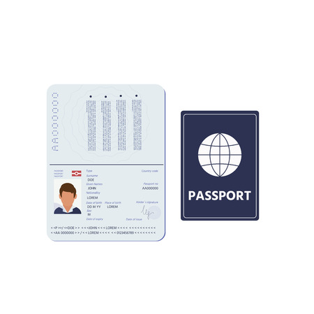 Passport pages with signature, nationality name surname date of birth information and pictures of man . Vector illustration isolated on white background Illustration